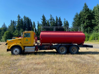 The water tank truck on our Vail tree farm in Washington, ready for action.